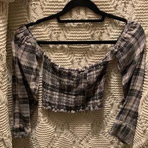 Off the shoulder flannel crop top